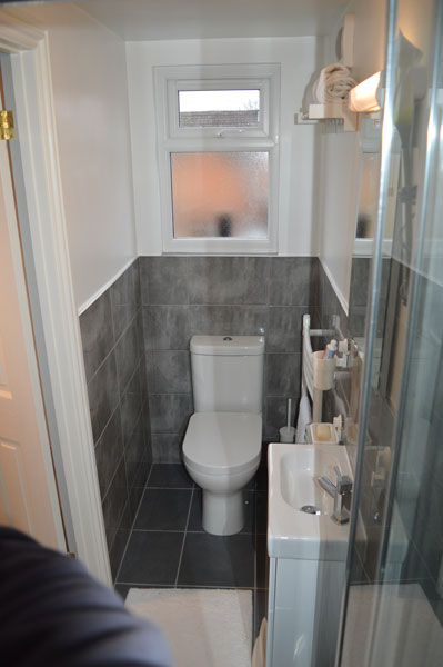 A compact en-suite bathroom